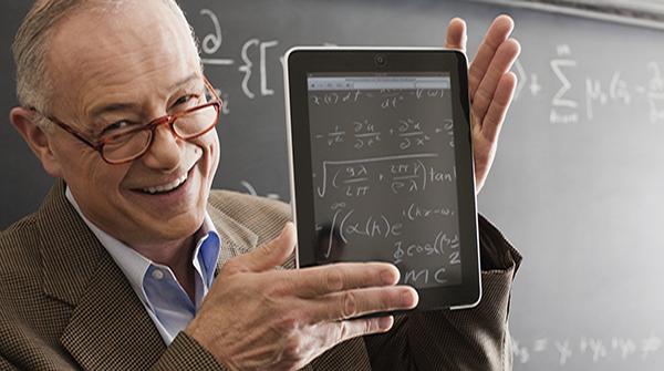 Professor holding tablet computer